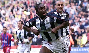 Darren Moore celebrates scoring West Brom's first goal