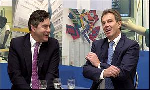 Chancellor Gordon Brown and Prime Minister Tony Blair at a London hospital on Thursday