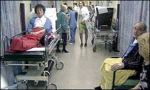 Crowded hospital corridor