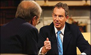 Tony Blair being interviewed by David Frost
