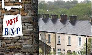 British National Party poster flies on a chimney in Burnley - the party has 13 candidates in this year's local elections.