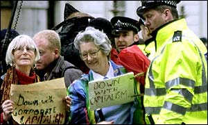 Anti-capitalism protesters in London, 2001