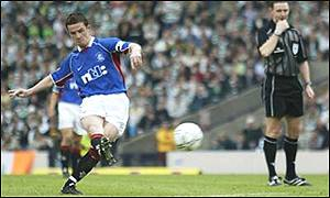 Barry Ferguson curls home a free kick to equalise for Rangers