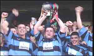 Shannon skipper David Quinlan after his side had beaten Cork Constitution 21-17 to win the All-Ireland League title.