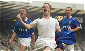 Barry Ferguson celebrates scoring Rangers' second equaliser