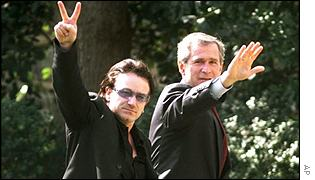 Bono and President George W Bush