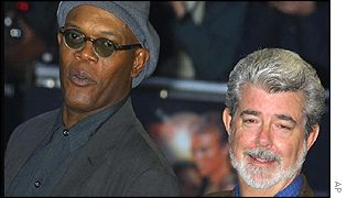 Samuel L Jackson and George Lucas at the West End pr�miere