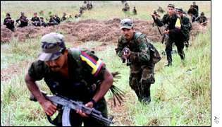 FARC militants train in an area ceded to the group in 1998