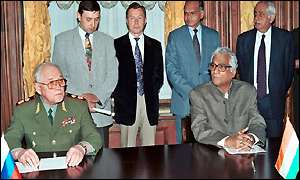 General Igor Sergeyev and George Fernandes