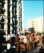 Bomb damage at US military complex in Dhahran