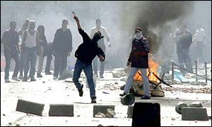 Palestinian rioters in Nazareth