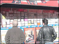 Cards in a newsagent's window