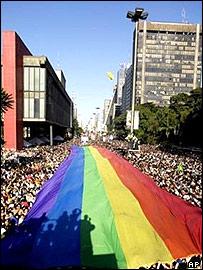 Gay Pride parade in the Brazilian city of Sao Paulo