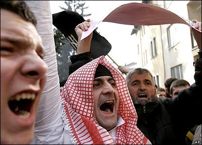Protesters in Sarajevo