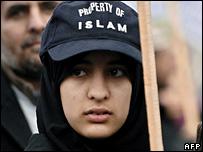 Protester at pro-Islam rally in Trafalgar Square