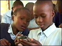 Kenyan students with e-Slate