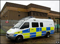 A police van at the Securitas depot