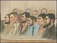 Artist's impression of defendants in court (Artist: Julia Quenzler)