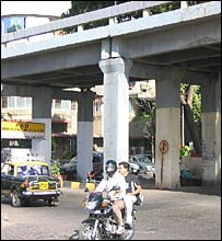 The police check post on Marine Drive used to be under this bridge