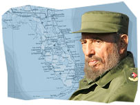 Fidel Castro and map of Florida, US
