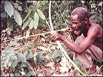 Pgymy tribesman in Uganda
