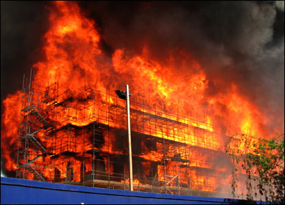 Bbc News In Pictures Building Site Fire In Nw London