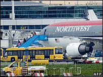 Northwest Airlines aircraft at Amsterdam's Schiphol Airport after turning back mid-flight