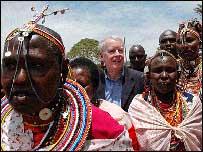 US ambassador Michael Ranneberger with Maasai herders