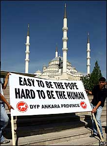 Protesters display banner in Ankara, Turkey