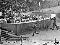 Scene of the assassination of Anwar Sadat