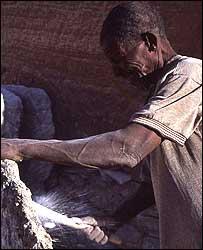 A salt miner in Taoudenni Mali