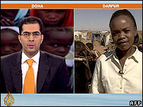 Still from link between Doha newsroom and Darfur