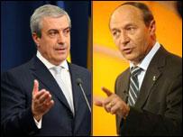 Romanian PM Calin Popescu Tariceanu (left) and President Traian Basescu