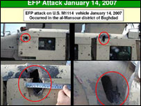 US photo of bomb damage from an EFP - explosively formed penetrator