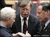British, US and Israeli ambassadors at the UN, August 2006