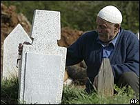 Villager in Ljuboten at the grave of a relative