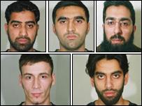 (Clockwise from top left): Jawad Akbar, Omar Khyam, Salahuddin Amin, Waheed Mahmood and Anthony Garcia