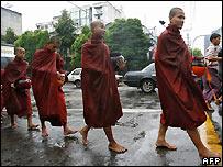 Monks in Rangoon, Burma - 10/09/2007