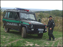 Slovak border guard with vehicle