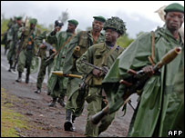 FARDC soldiers on patrol in north Kivu in November 2007
