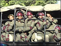 Riot police in Nairobi on Wednesday 2 January 2008