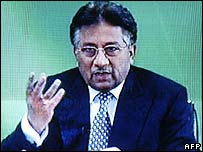 Screen grab of President Pervez Musharraf on Pakistan TV