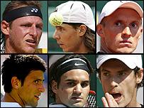 David Nalbandián, Rafael Nadal, Nikolay Davydenko, Novak Djokovic, Roger Federer y  Andy Murray .