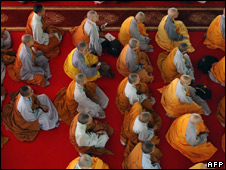 Monks attend a ceremony presided by Tibetan spiritual guide, the Dalai Lama