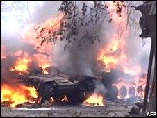 Georgian tanks burning