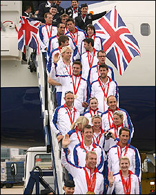 GB athletes at Heathrow