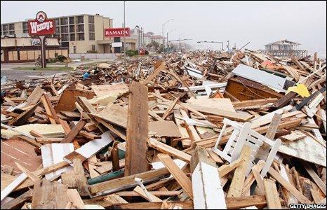 Debris from Hurricane Ike covers Seawall Boulevard on 13 September 2008 in Galveston, Texas