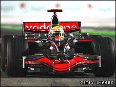 Lewis Hamilton's McLaren during the Singapore Grand Prix