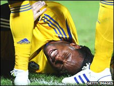Didier Drogba was stretchered off in the second half