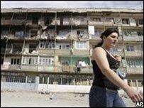 Destroyed Tskhinvali apartment block